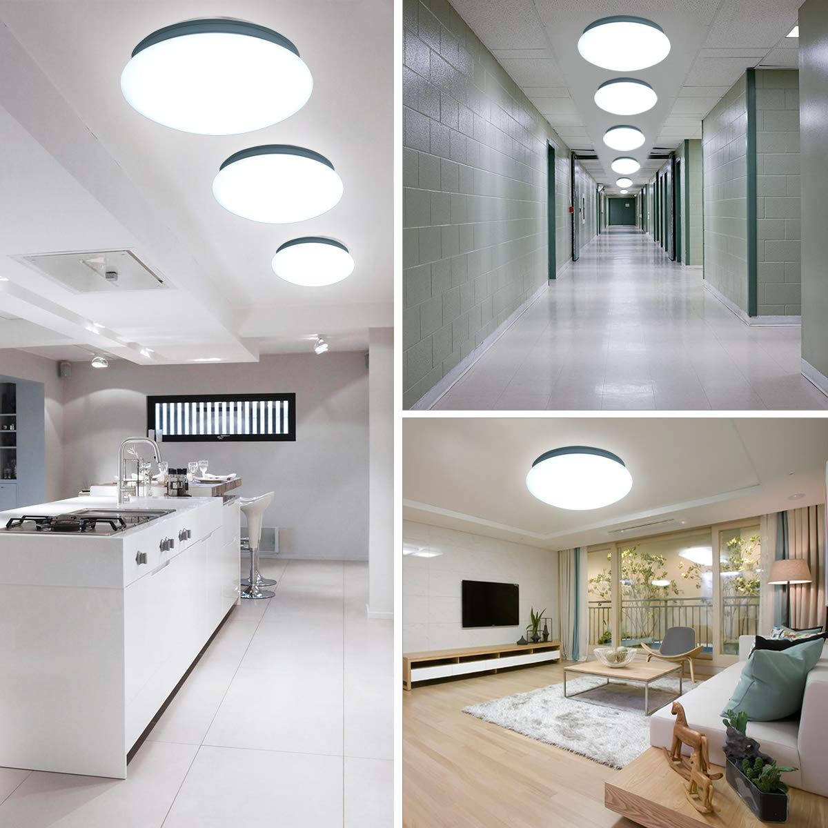 10 inch Led Ceiling Light Fixture 6000K Daylight Lighting,100W Equivalent,1200 LM,Mushroom Shape,12W Flush Mount Led Ceiling Lights for Home, Foyers, Restroom, Closet, Attic, Basement, Garage