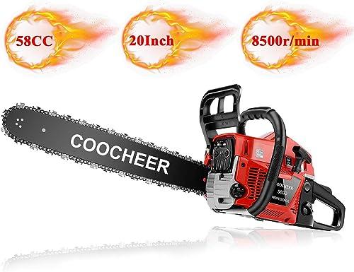 Mauccau Gas Chainsaw 20 Inch Petrol Powered Gasoline Chain Saw 58CC 2 Stroke Handheld Cutting Wood Tree Tool Kit