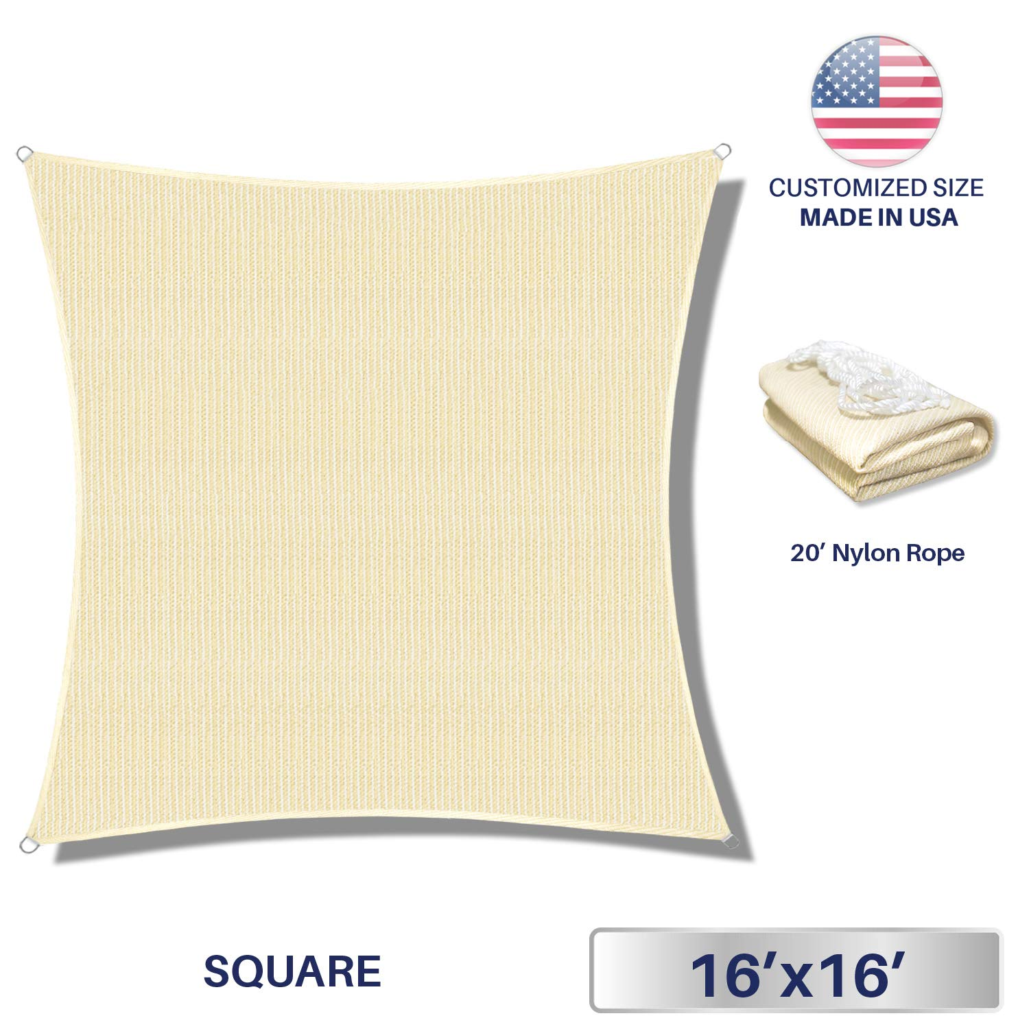 Windscreen4less 16' x 16' Sun Shade Sail Square Canopy in Beige with Commercial Grade (3 Year Warranty) Customized