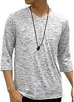 OVAL DICE(オーバルダイス) Tシャツ ネックレス セット 7分 袖 ゆる Vネック 無地 メンズ