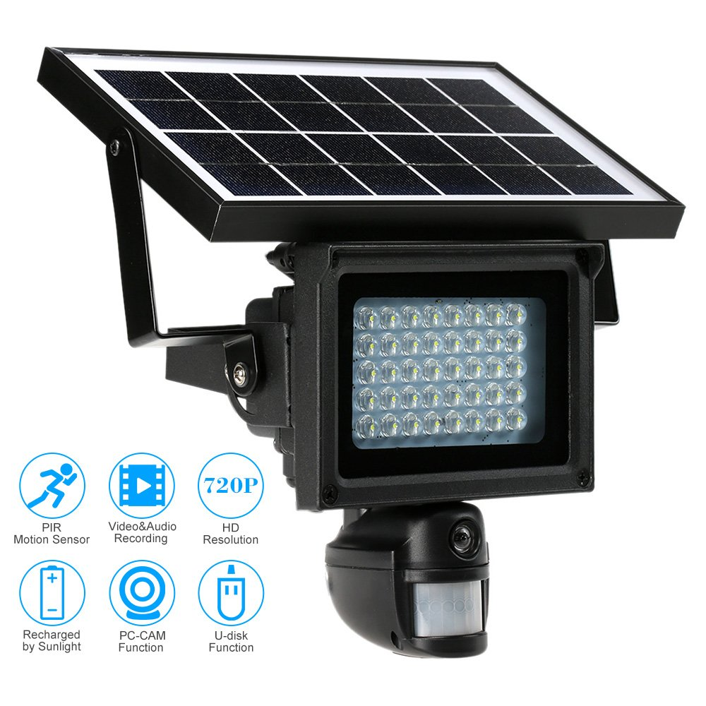 KKmoon 40 IR LEDS Solar Floodlight Street Lamp 720P HD CCTV Security Camera DVR Recorder PIR Motion Detection Solar Energy Charge Built-in Lithium Battery Support PC-CAM TF Card by KKmoon