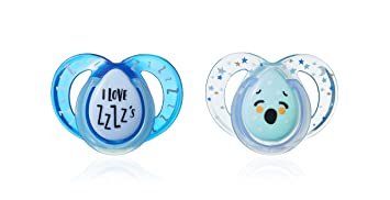 Tommee Tippee - 43336265 - Chupete Closer To Nature Night Silicona Tommee Tippee 6-18m, 2 unidades, modelos surtidos