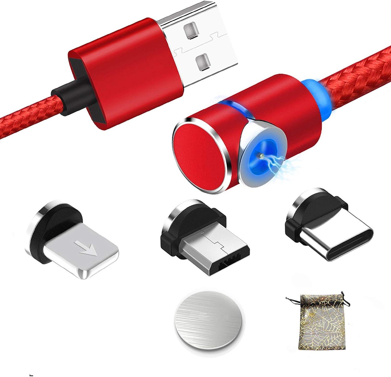 Kyerivs Cable USB Magnético con LED, Multi 3 en 1 Cable Magnetic de Carga Cargador iman con Adaptador Micro L USB Tipo C para Phone (1M/3.3ft, 2-Rojo/Red): Amazon.es: Electrónica