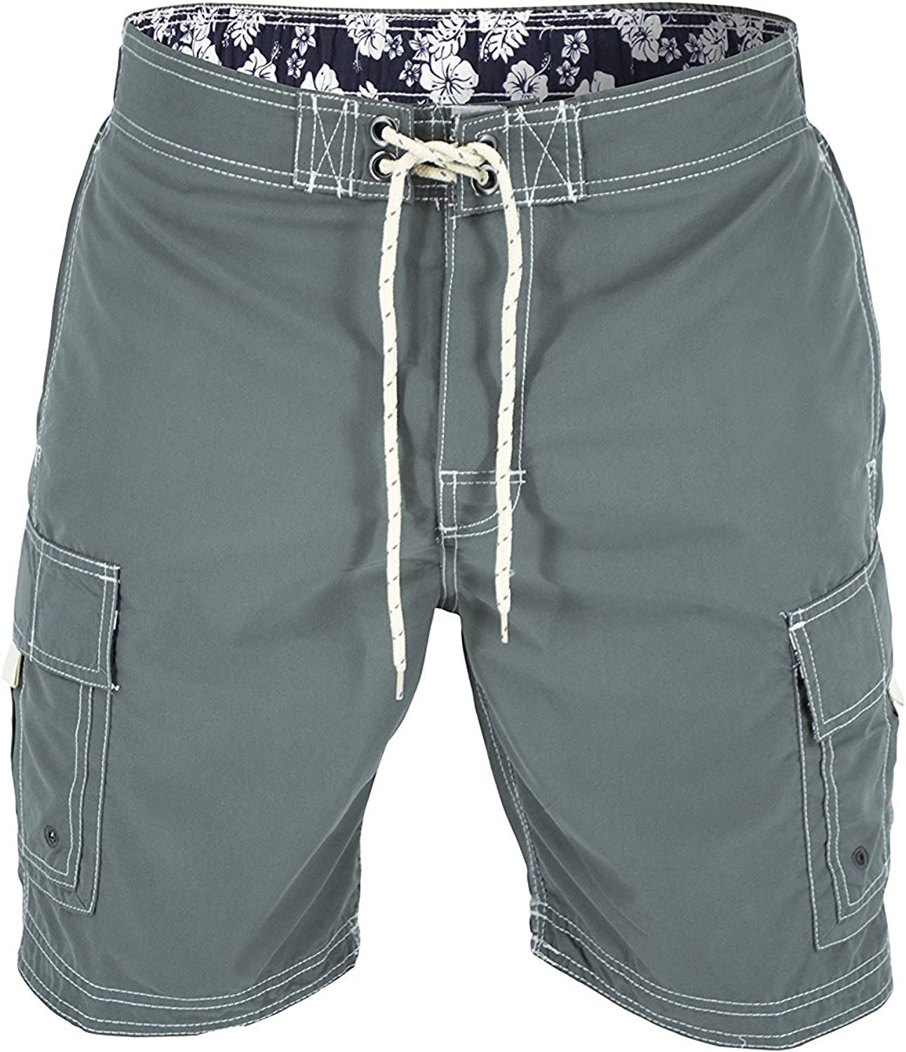 US Apparel Men's Solid Color Cargo Style Microfiber Board Shorts Available in 3XL, 4XL and 5XL