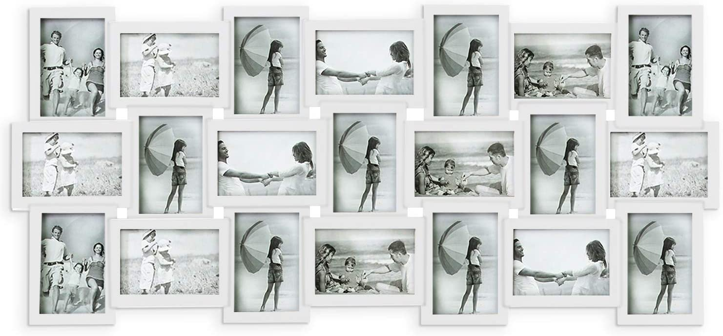 Hello Laura Photo Frame Picture Frame 21 Piece Wall Picture Collage Collection Set - Massive Multiple Photo Sockets 6x4 inch White Display Frames
