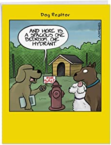 NobleWorks, One Hydrant - Jumbo New Home Congratulations Greeting Card (8.5 x 11 Inch) - Pet Dog Cartoon, Funny Card with Envelope J6377NHG