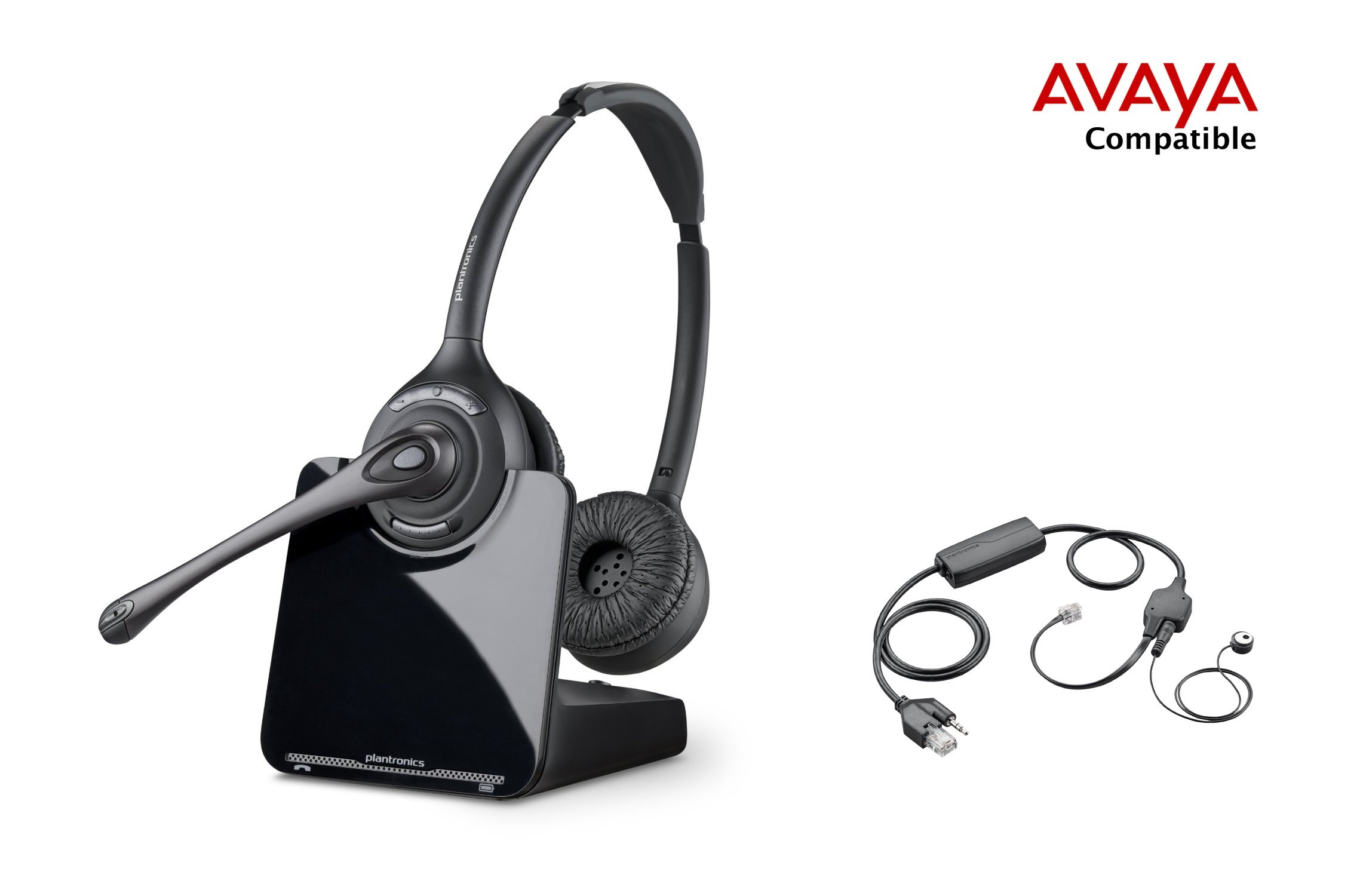 Avaya Compatible Plantronics CS520 VoIP Wireless Headset Bundle with Electronic Remote Answer|End and Ring alert (EHS) for Avaya Phones: 1600, 9600 IP Phones: 1608, 1616, 9601, 9608, 9610, 9611, 9611G, 9620, 9620C, 9620L, 9621, 9630, 9640, 9640G, 9641, 96 by Plantronics