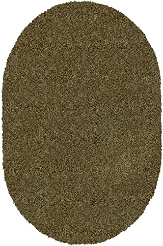 Koeckritz Oval 9 x12 Jungle Shaggy Indoor Area Rug – Shaggy Carpet for Residential or Commercial use with Premium Bound Polyester Edges.