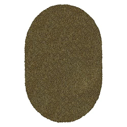 Koeckritz Oval 4 X6 Jungle Shaggy Indoor Area Rug – Shaggy Carpet for Residential or Commercial use with Premium Bound Polyester Edges.
