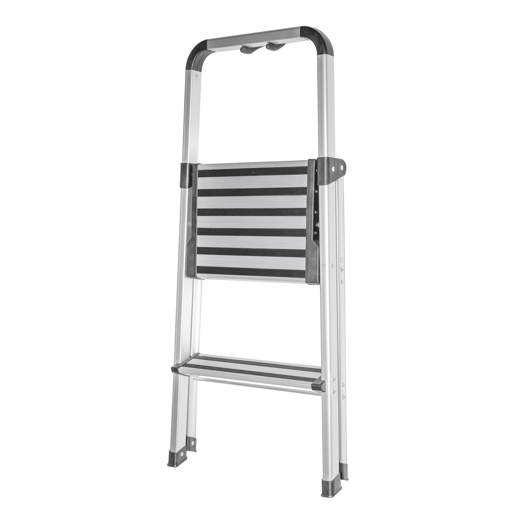 HomeCrate Folding Two Step Ultra-Light Aluminum Step Stool Ladder, 250 lb. Load Capacity