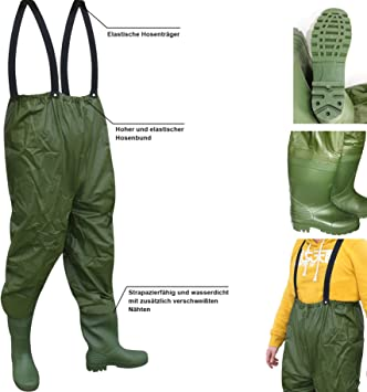 Wathose Anglerhose Angelhose Watstiefel Watthose PVC Teichhose mit Stiefel