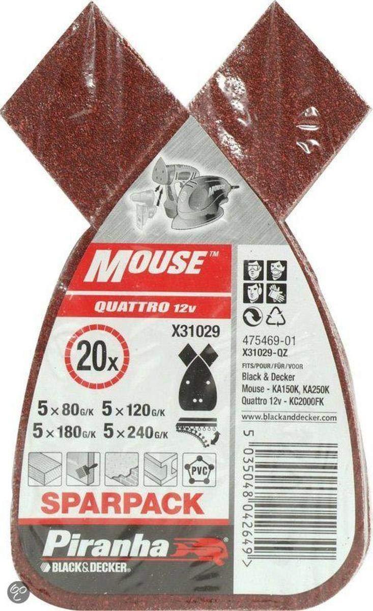 BLACK+DECKER X31029 Fogli Velcro per Levigatrice Mouse Set di 20 Pezzi Grane Assortite
