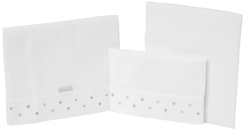 Petit Lazzari Corazones 50 x 80 cm color gris Juego de 3 s/ábanas para minicunas