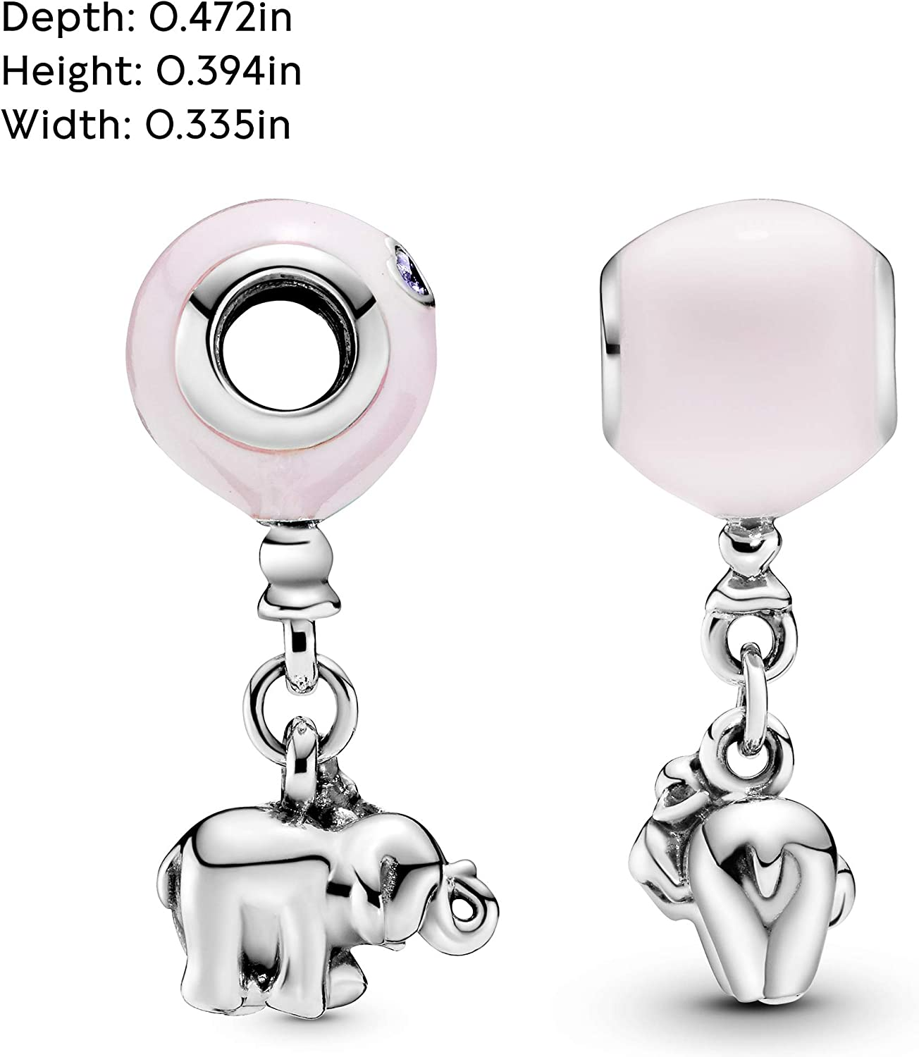 Pandora Jewelry Elephant and Pink Balloon Crystals Charm in Sterling Silver