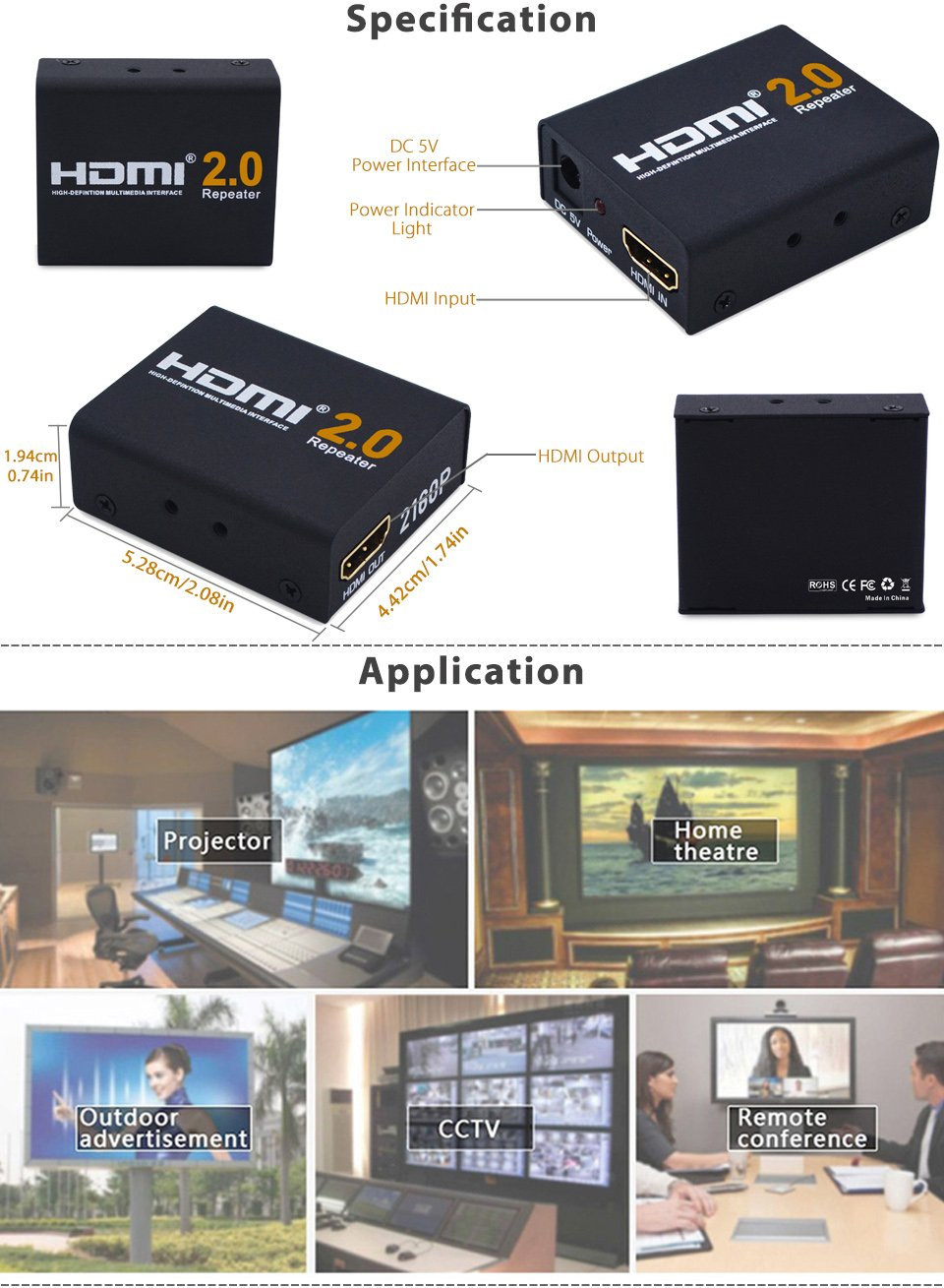 2160P 3D 4K HDMI Signal Repeater Extender Booster Adapter Over Signal HDTV 60 Meters Lossless Transmission by KSRplayer (Image #3)