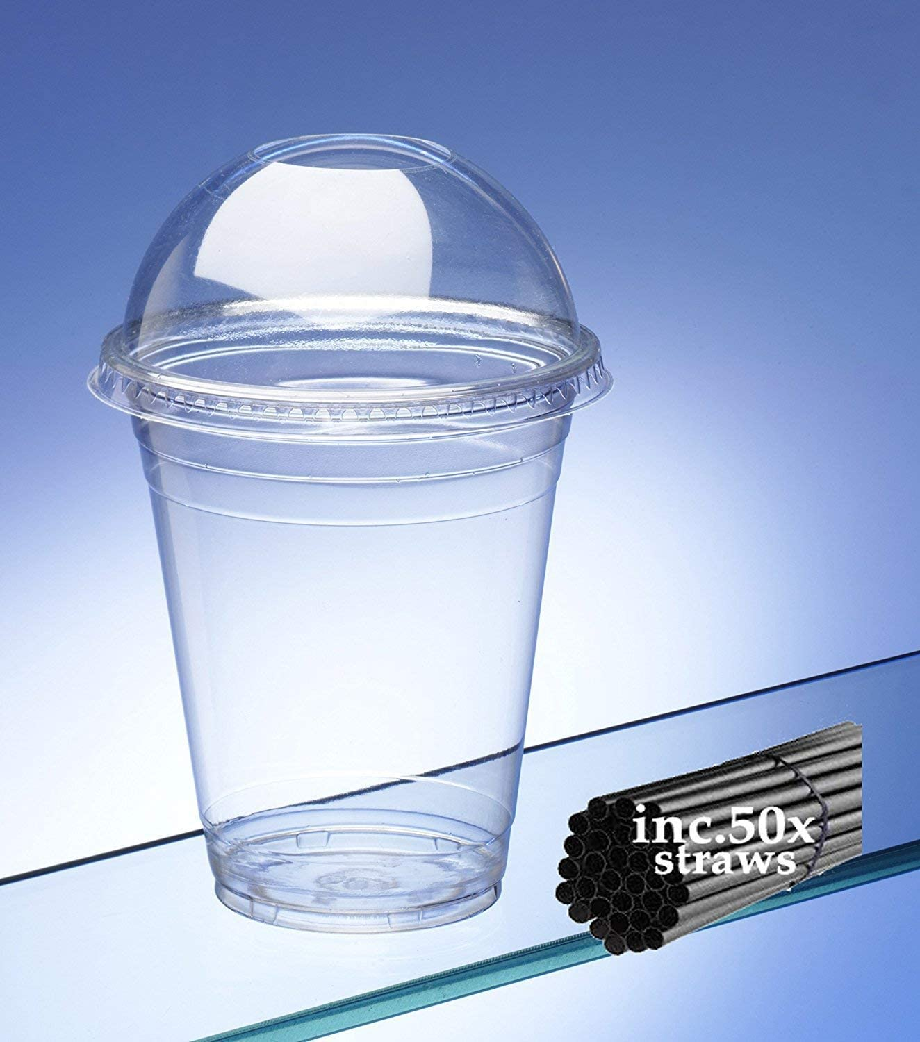 Capacity 500ml//17.5oz Recyclable Smoothie Cups with Dome Lids and Com-postable Straws Pack of 50.