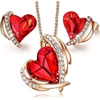 Girlfriend, Wife and Mother, Jewellery Gifts for Women Love Heart Rose Gold Necklaces and Earrings Jewellery Sets Gifts…
