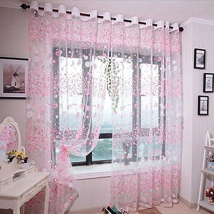 Lianle Rosa Colorato Trasparente tenda tenda camera da letto ...