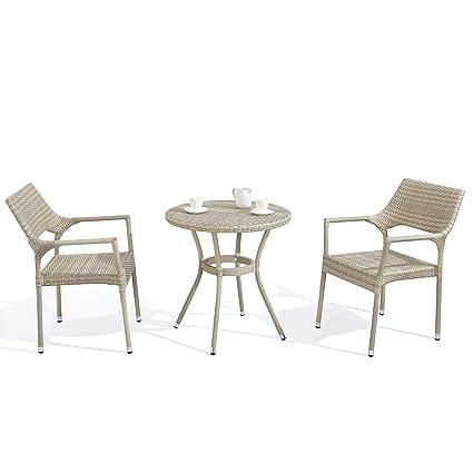 Amazon.com: D + juego de 3 piezas Bistro mesa de jardín para ...