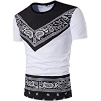 💖 T-Shirt Africain, 💖 Covermason Chemise à Manches Courtes Hommes Africain Dashiki Graphique Pullover T-Shirt pour Hommes Tribal Festival Hippie Style Tops