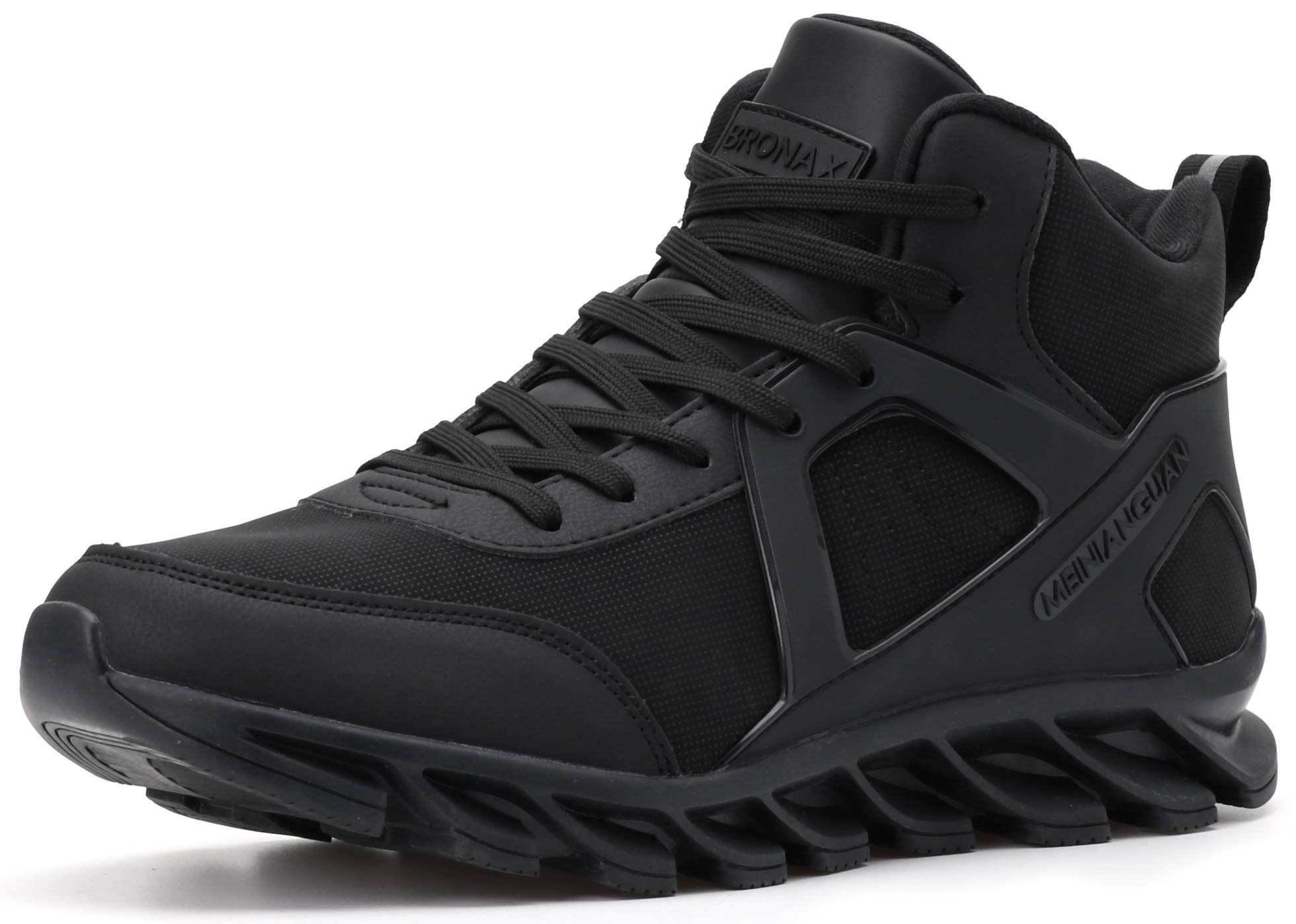 BRONAX High Top Basketball Shoes Leather Lace Up Gifts Tennis for Mens Youth Boys Sports Athletic Street Hightop with Ankle Support Zapatos de Basketball Hombre All Black Size 12 by BRONAX