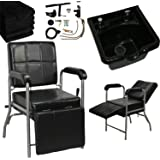 LCL Beauty Shampoo Package: Reclining Shampoo Chair with Adjustable Legrest & ABS Shampoo Bowl