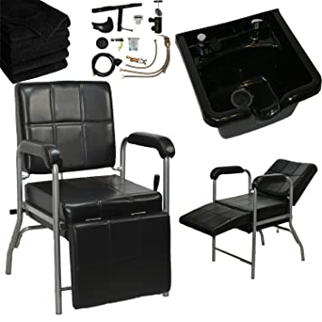 LCL Beauty Shampoo Package: Reclining Shampoo Chair With Adjustable Legrest  U0026 ABS Shampoo Bowl