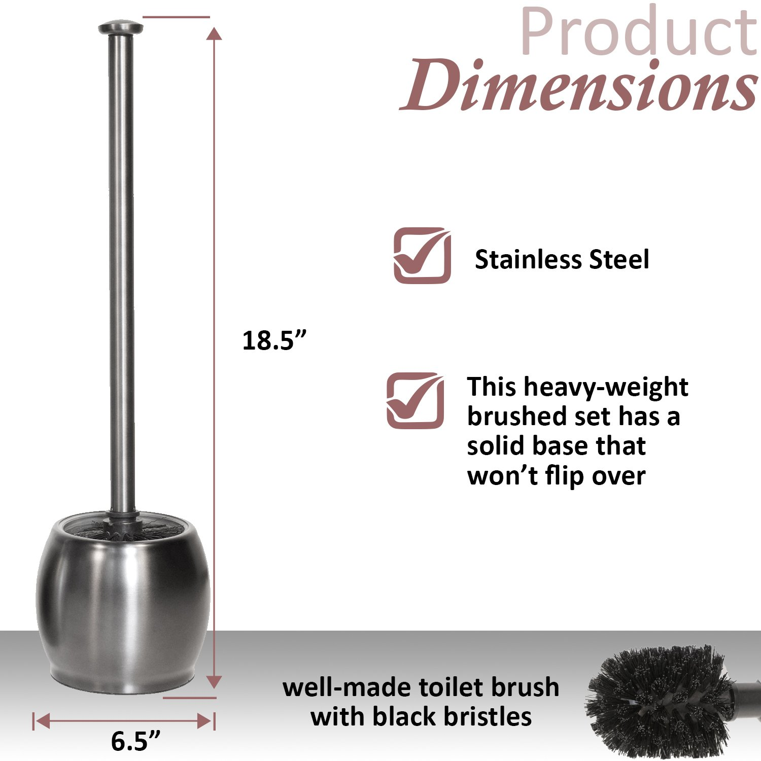 "Toilet Tree Modern Deluxe Freestanding Cleaning Tools Stainless Steel, Toilet Brush 6.5/"" x 6.5/"" x 18.5/"" ToiletTree Products"