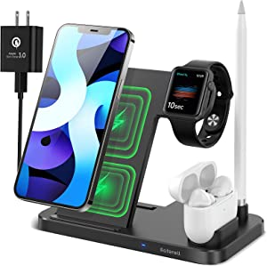 Apple Charging Station Saferell 4-in-1 18W Fast Wireless Charger Stand Dock, Charging Station for Apple Watch Series 6/SE/5/4/3/2, All AirPods and Pencil, Compatible with iPhone 12 11Pro/XS/8 Samsung
