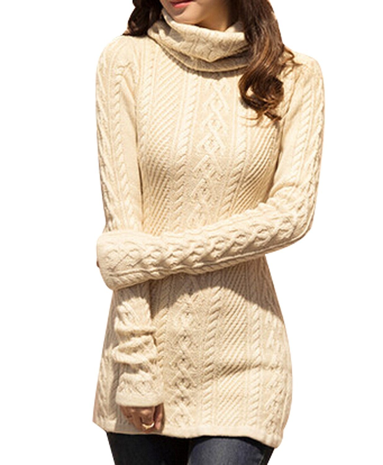UQ High Neck Knit Warm Long Sweater by UQ