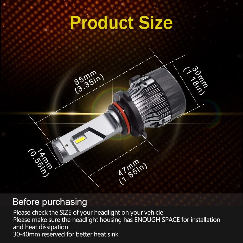 9005 HB3 LED Headlight Bulb Conversion Kit SAFEGO 60W 65000K 10000LM 9005 Bulb Extremely Bright Led Chips Waterproof Ip65 360/°Degree Lighting for Car Headlight Replacement,2 Pack
