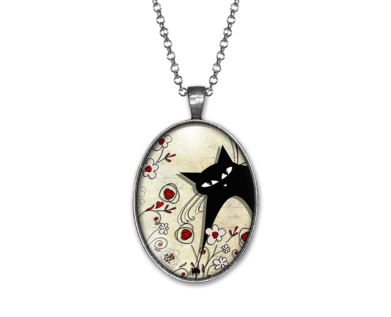 Collar cabochon -el gato del campo- Regalo de Navidad para regalo mujer ref.32a plata antigua San Valent/ín- regalo de cumplea/ños
