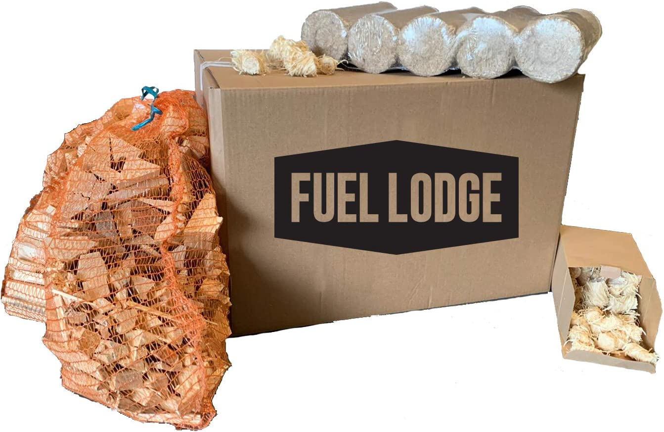 50 Organic Firelighters Fuel Lodge Fire Starter Pack Includes 10kg Briquettes 9kg Kindling