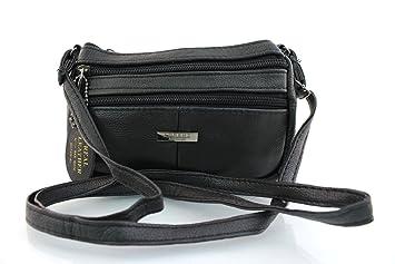 b8995b1bdbbf New Genuine Real Leather Compact Cross Body Bag Lorenz Ladies Women ...