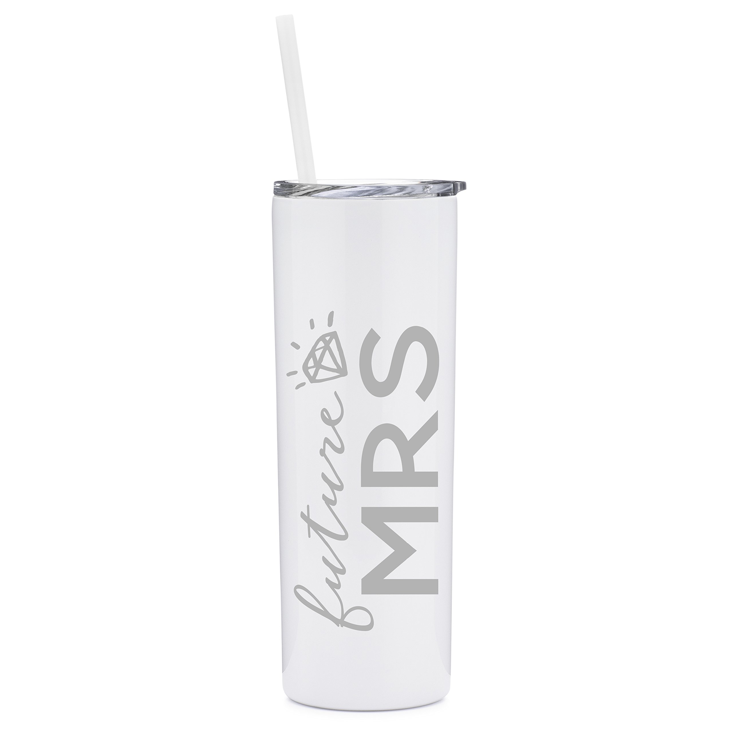 Future Mrs. - 20 oz Stainless Steel Insulated Tumbler with Lid and Straw - Engagement | Bride To Be | Bridal | Wedding | Bachelorette