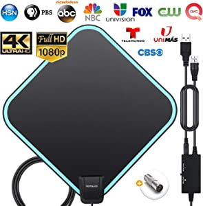 TV Antenna, HAMSWAN 2020 Newest HDTV Indoor Digital Amplified TV Antennas 200+ Miles Range with Amplifier TV Signals, HDTV Antenna for 4K Free Local Channels Support All TV