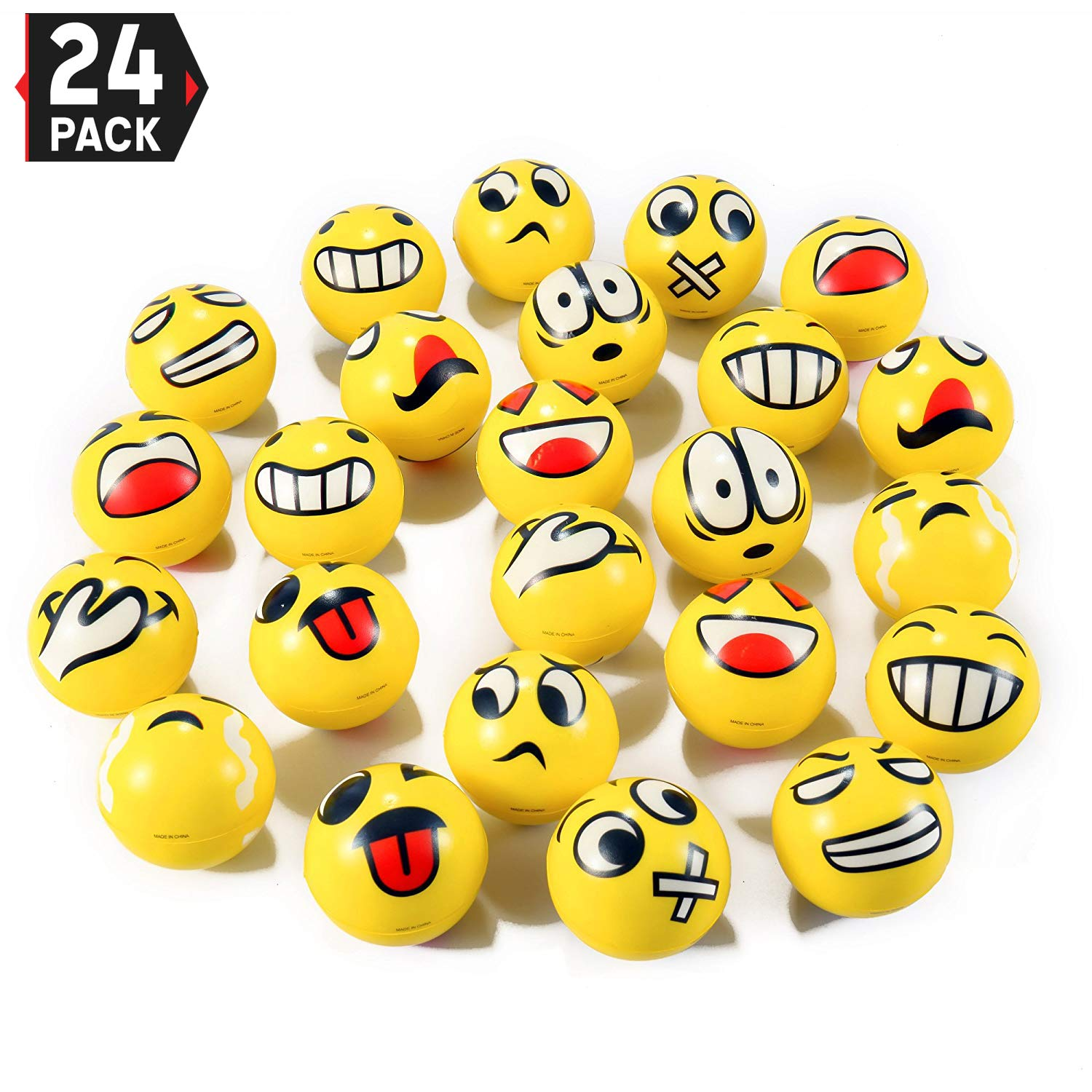 Liberty Imports Set of 24 Face Emoji Stress Balls Bulk - Soft Foam Stress Ball Squeeze Toys for Kids (3 inches)