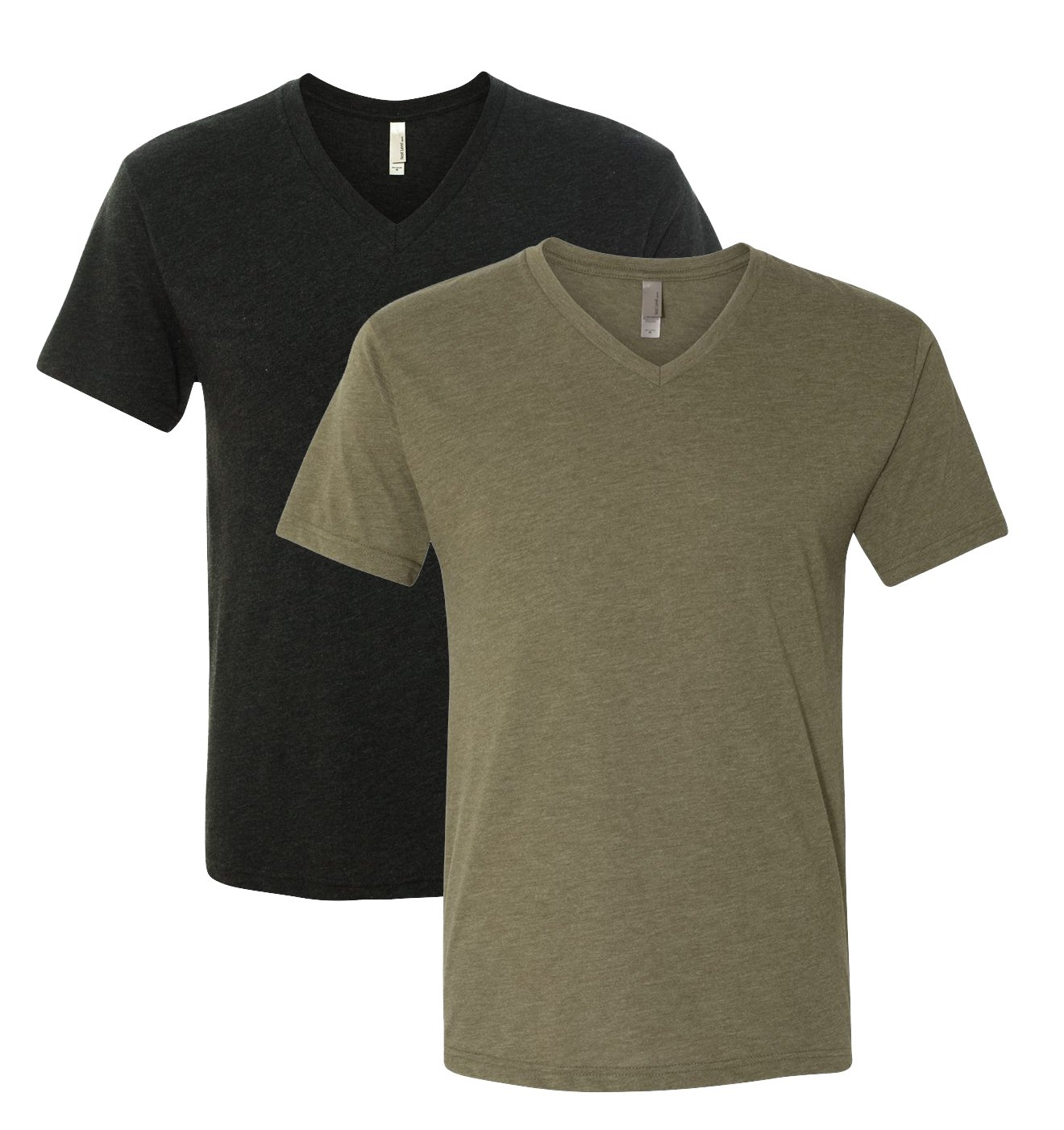 Next Level Triblend Vee Tee, Vintage Black + Military Green (2 Pack), Large