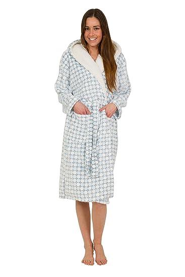 Florentina Women s Soft Hooded Robe Blue 3D Fleece Fabric With Cream Hood  Lining ... e75c5f576