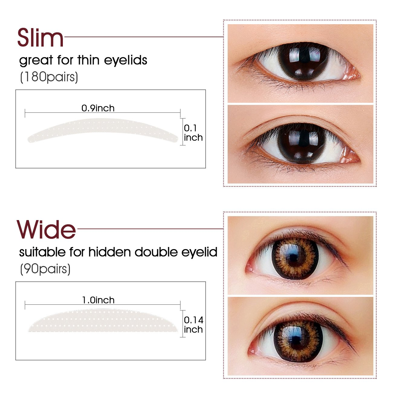 Natural Invisible Fiber Double Eyelid Tape Stickers - Instant Eye Lift Without Surgery - Perfect for Hooded, Droopy, Uneven, or Mono-eyelids (270 Pair, Wide + Slim) by Lameila