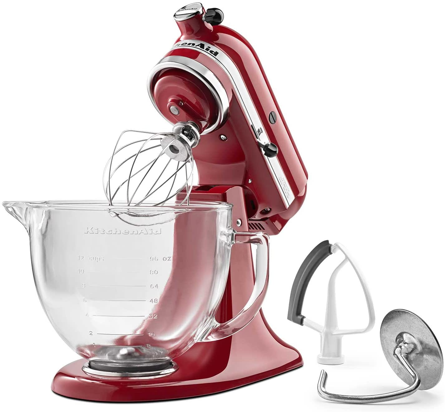 Amazon Com Kitchenaid Ksm105gbcer 5 Qt Tilt Head Stand Mixer With Glass Bowl And Flex Edge Beater Empire Red Kitchen Dining