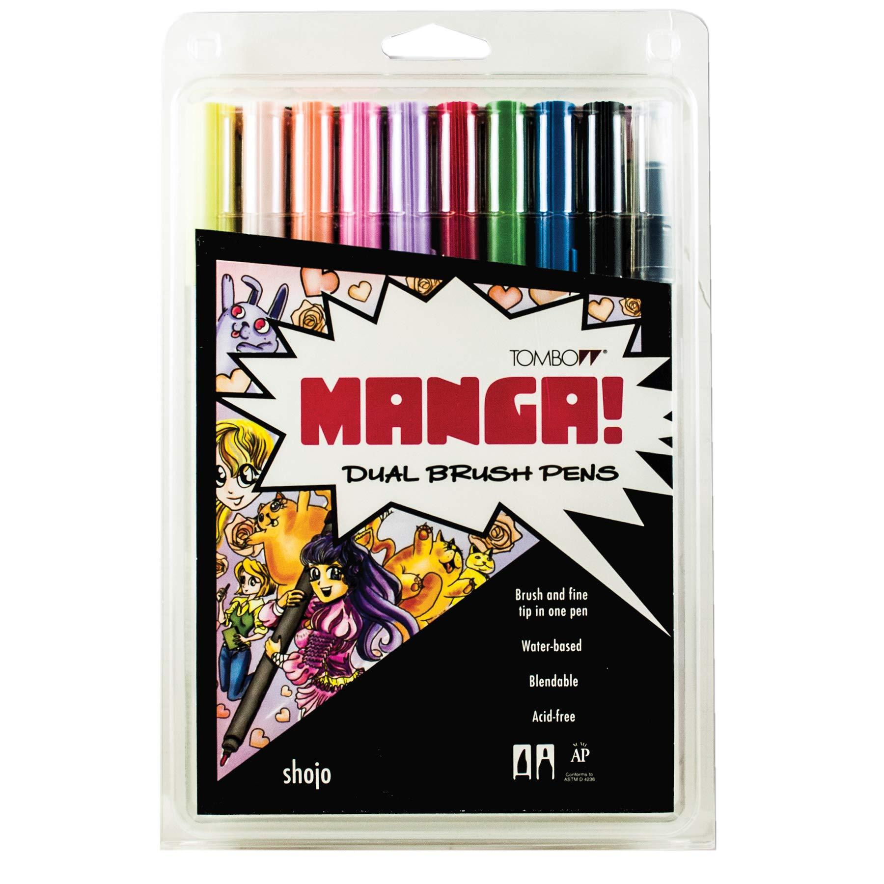 Tombow 56173 Dual Brush Pen Art Markers, Manga Shojo, 10-Pack. Blendable, Brush and Fine Tip Markers