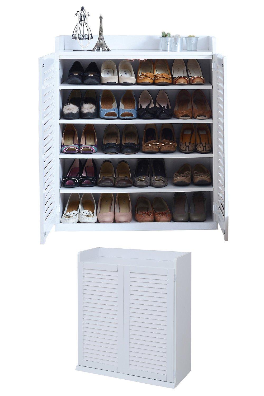 JKプラン 靴箱 シューズボックス 下駄箱 シューズラック 靴 収納 幅 75 奥行33 高さ90 縦横自在 薄型 玄関収納 むれない ルーバー 式 扉 ホワイト 白 TSSGT00102WH B07BKRRZ3Qホワイト