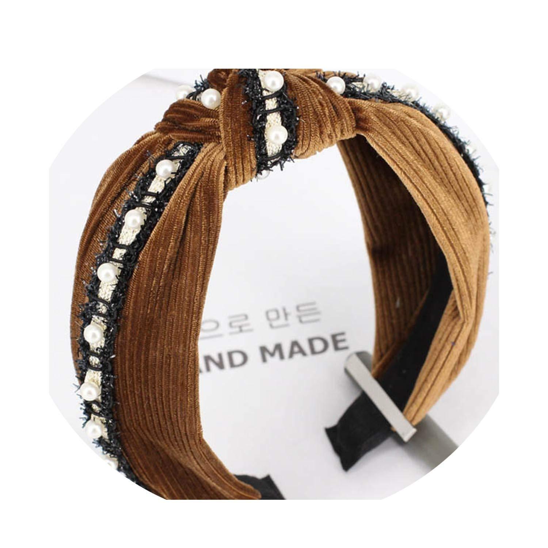 Lady Pearl Hair Band Women Retro Girls Knotted Turban Headband Twisted Headbands Hair Accessories,2