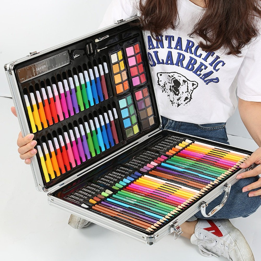 Artist art drawing set, Art Supply Luxury Artist Studio Creative Set 143 Pieces Of Alloy Portable Art Including Watercolor, Crayons, Colored Markers, Colored Pencils, Etc. Gifts for children and child by JIANGXIUQIN (Image #2)