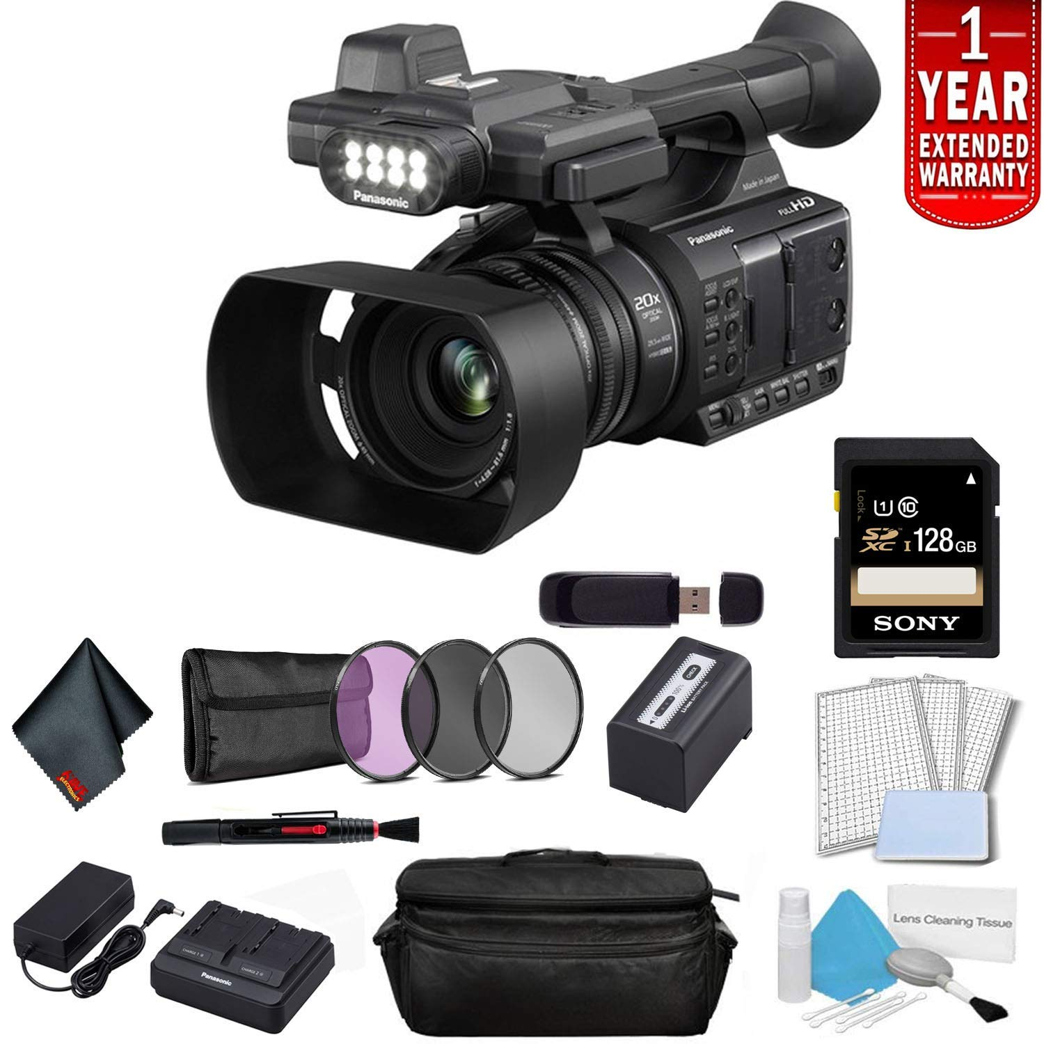 Panasonic AG-AC30 Full HD Camcorder with Touch Panel LCD Viewscreen and Built-in LED Light (US Version) Bundle with 1 Year Extended Warranty, Sony 128GB SDXC Memory Card + 3 Piece Filter Kit + More by Panasonic