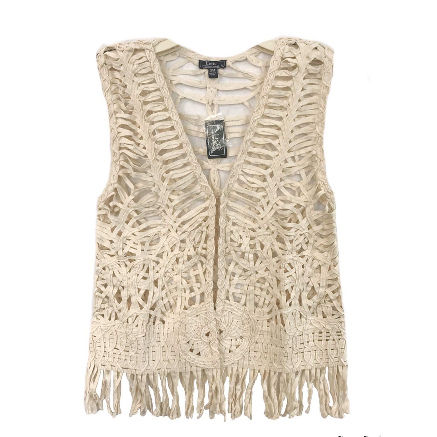 Lisa International Women's Boho Hippie Vest with Long Fringe 100% Cotton/Summer Bikini Cover (S/M, 6789-Ivory)