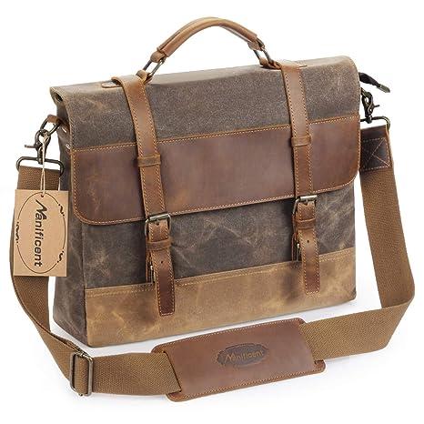 04d9ce4665 Manificent Men's Messenger Bag, 15.6 Inch Vintage Waxed Canvas Genuine  Leather Large Satchel Shoulder Bag