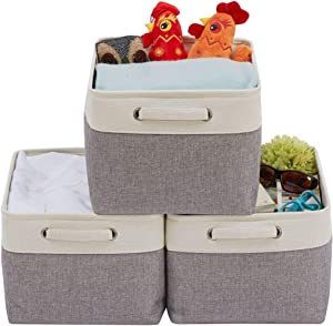 DECOMOMO Extra Large Fordable Storage Bin [3-Pack] Collapsible Sturdy Cationic Fabric Basket W/Handles for Organizing Shelf Nursery Home Closet (Extra Large - 15.8 x 12.5 x 10, Grey and White)