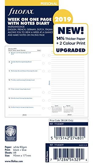 Filofax 19-68409 - Agenda personal (año 2019, con notas)